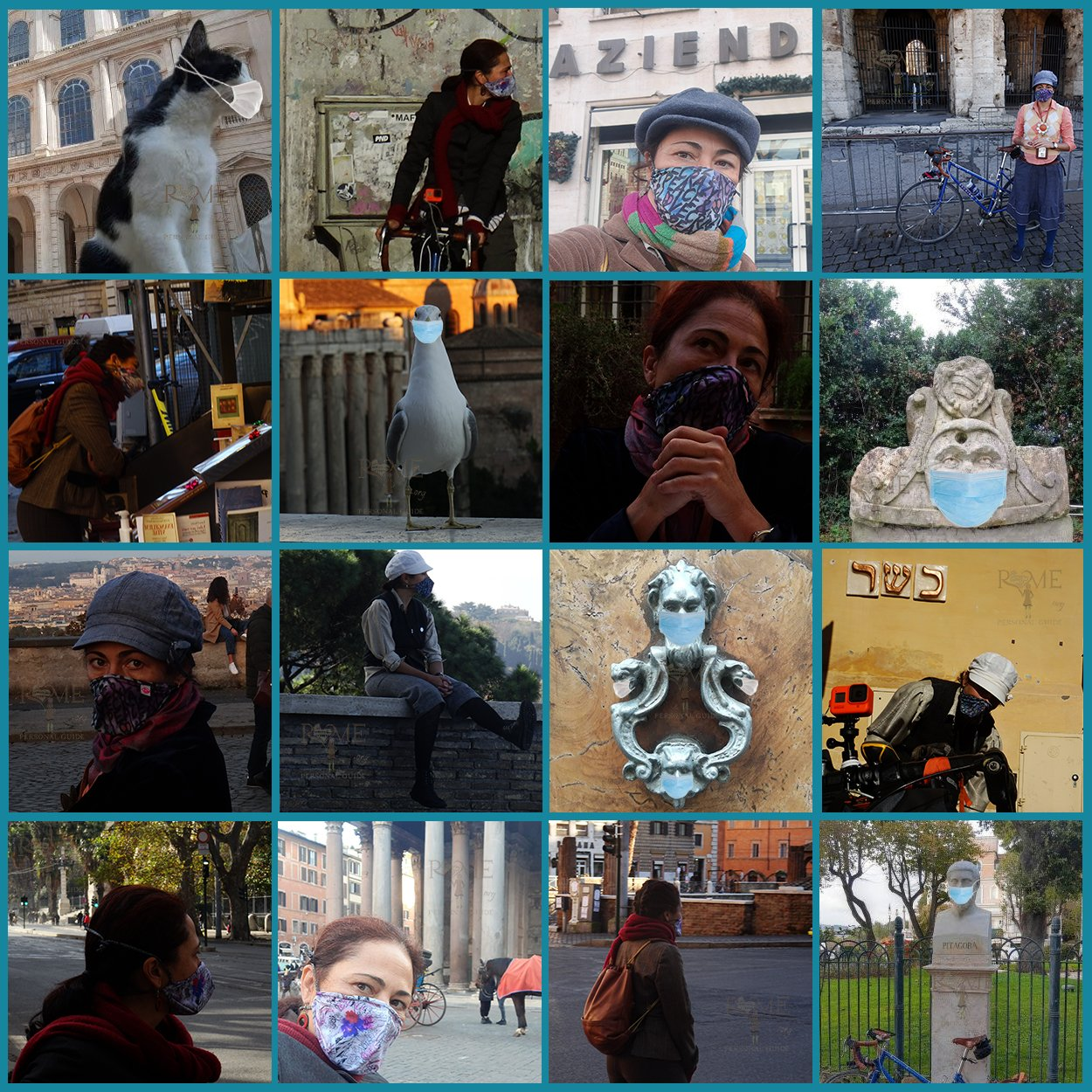 Puzzle of me, statues and animals with mask